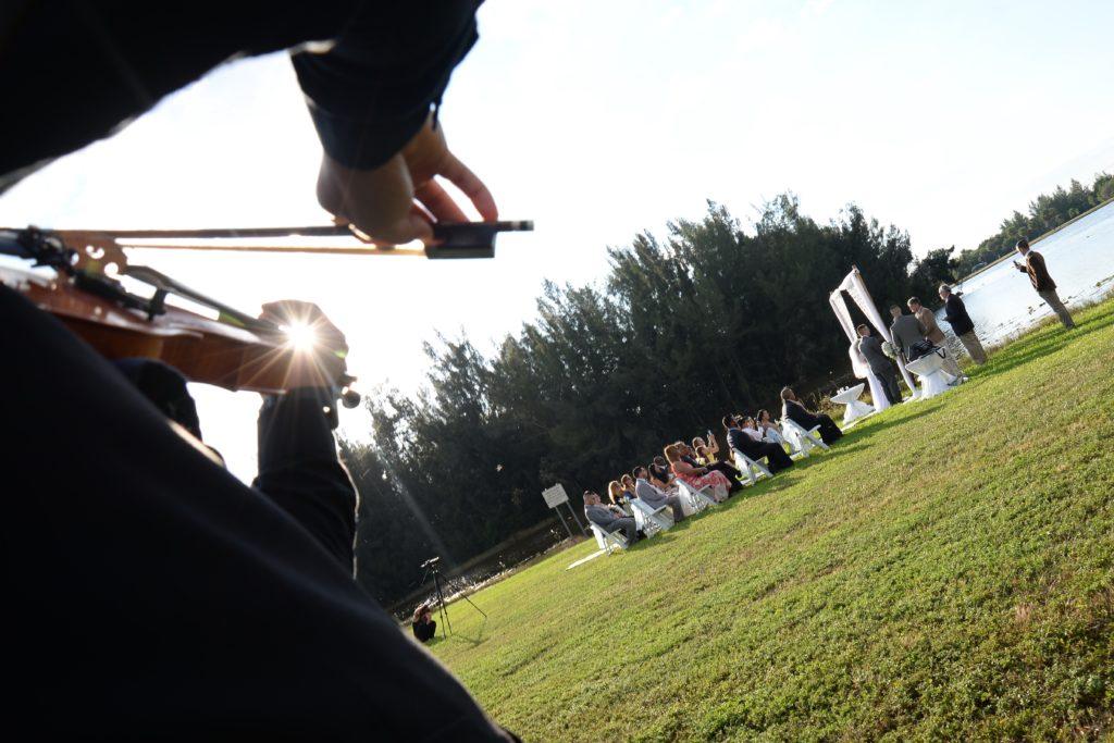 Violinist at park wedding