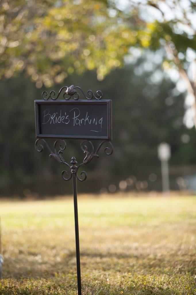 Parking sign bride park wedding