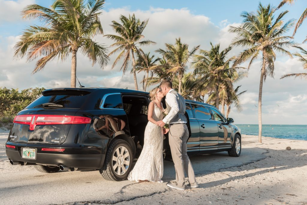 limo beach wedding